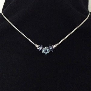 NWT 14K white gold Blue Topz and Iolite necklace